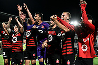 28th February 2020; Netstrata Jubilee Stadium, Sydney, New South Wales, Australia; A League Football, Sydney FC versus Western Sydney Wanderers; Daniel Lopar of Western Sydney Wanderers leads his team in celebrations after the game as they beat rivals Sydney FC 1-0