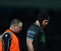 28th February 2020; RDS Arena, Dublin, Leinster, Ireland; Guinness Pro 14 Rugby, Leinster versus Glasgow; Tim Swinson (Glasgow Warriors) leaves the pitch for a head injury assessment