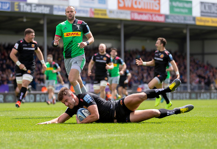 Exeter Chiefs' Ollie Devoto scores his sides first try<br /> <br /> Photographer Bob Bradford/CameraSport<br /> <br /> Gallagher Premiership - Exeter Chiefs v Harlequins - Saturday 27th April 2019 - Sandy Park - Exeter<br /> <br /> World Copyright © 2019 CameraSport. All rights reserved. 43 Linden Ave. Countesthorpe. Leicester. England. LE8 5PG - Tel: +44 (0) 116 277 4147 - admin@camerasport.com - www.camerasport.com