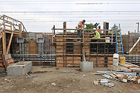 Concrete pouring & preparing the forms of the platform at the construction of the Commuter Railroad Station at Fairfield Metro Center, CT - Site visit 12 of once per month Chronological Documentation.