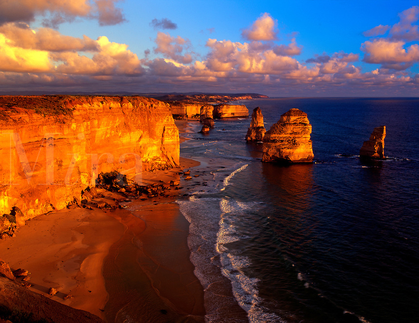 AUS-10a  12 Apostles, sunset, Port Campbell National Park, Great Ocean Rd. Victoria, Australia.  Original:  Medium Format.