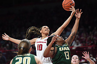 NWA Democrat-Gazette/J.T. WAMPLER Arkansas' Kiara Williams fights for a rebound with University of Alabama at Birmingham's Katelynn Thomas Sunday March 24, 2019 at Bud Walton Arena in Fayetteville during the second round of the Women's National Invitational Tournament. Arkansas won 100-52 and takes on TCU Thursday night at home.