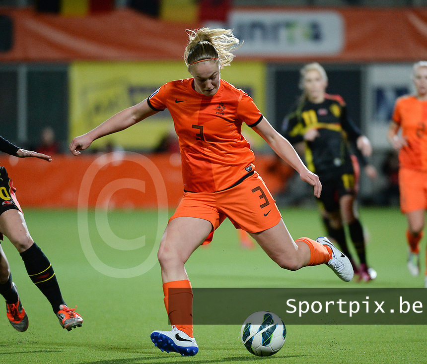 20140212 - ZWOLLE , THE NETHERLANDS : Dutch Stefanie van der Gragt pictured during the female soccer match between The Netherlands and Belgium , on the fifth matchday in group 5 of the UEFA qualifying round to the FIFA Women World Cup in Canada 2015 at Het Ijseldelta Stadion , Zwolle . Wednesday 12th February 2014 . PHOTO DAVID CATRY