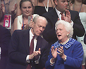 Former United States President Gerald R. Ford and former first lady Barbara Bush discuss the proceedings at the 2000 Republican National Convention in Philadelphia, PA on August 2, 2000.<br /> Credit: Ron Sachs /  CNP