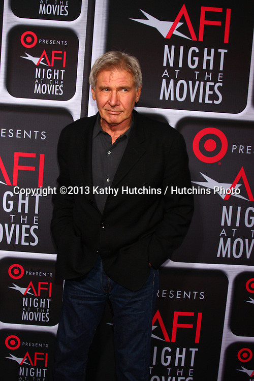 LOS ANGELES - APR 24:  Harrison Ford arrives at the AFI Night at the Movies 2013 at the ArcLight Hollywood Theaters on April 24, 2013 in Los Angeles, CA