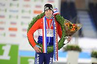SCHAATSEN: HEERENVEEN: 01-01-2017, NK Marathonschaatsen, Bob de Vries wint bij de heren A, ©foto Martin de Jong