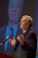 June 25, 2002, Montreal, Quebec, CANADA<br /> Paul Martin, Founder and inaugural Chair of the G-20 speak about Economy and the Challenge of Governance,<br />  during the 9th Conference of Montreal, June 25, 2002 in Montreal, CANADA<br /> <br /> Mandatory credit : Photo by Pierre Roussel - Images Distribution<br /> (c) : 2002,Pierre Roussel
