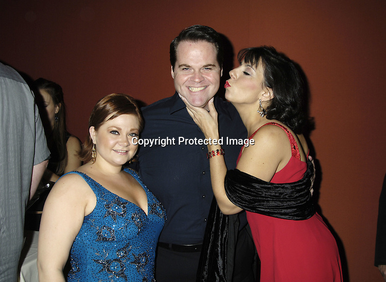 "Kathy Brier, John Tracy Eagan and costar Christine Pedi ..at The Opening Night Party for the Musical ""A Broadway Diva Christmas"" on December 4, 2005 at The Biltmore. ..Photo by Robin Platzer, Twin Images"