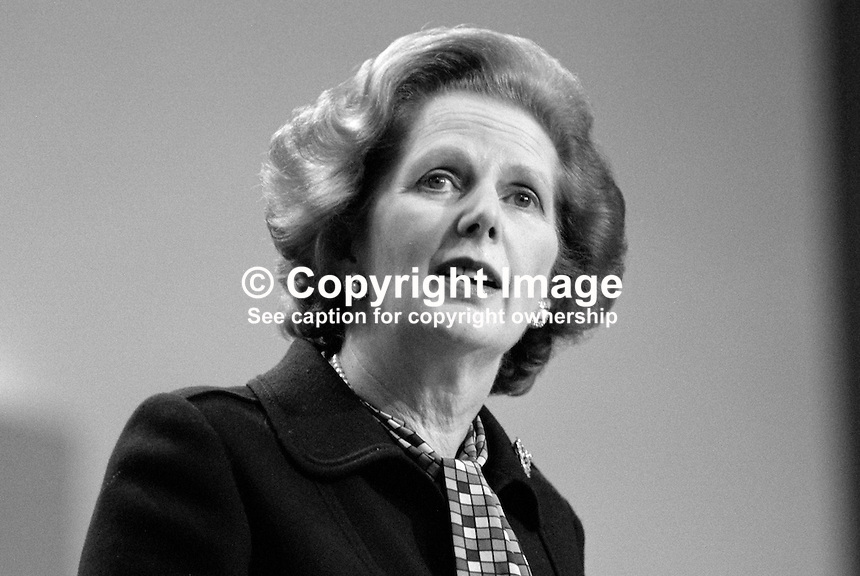 Only hours after surviving the Provisional IRA bombing of the Grand Hotel in Brighton, where she was staying, Margaret Thatcher, Prime Minister, UK, addresses the Conservative Party's annual conference on Friday, 12th October 1984. 19840134MT4..Copyright Image from Victor Patterson, 54 Dorchester Park, Belfast, UK, BT9 6RJ..Tel: +44 28 9066 1296.Mob: +44 7802 353836.Voicemail +44 20 8816 7153.Skype: victorpattersonbelfast.Email: victorpatterson@me.com.Email: victorpatterson@ireland.com (back-up)..IMPORTANT: If you wish to use this image or any other of my images please go to www.victorpatterson.com and click on the Terms & Conditions. Then contact me by email or phone with the reference number(s) of the image(s) concerned.