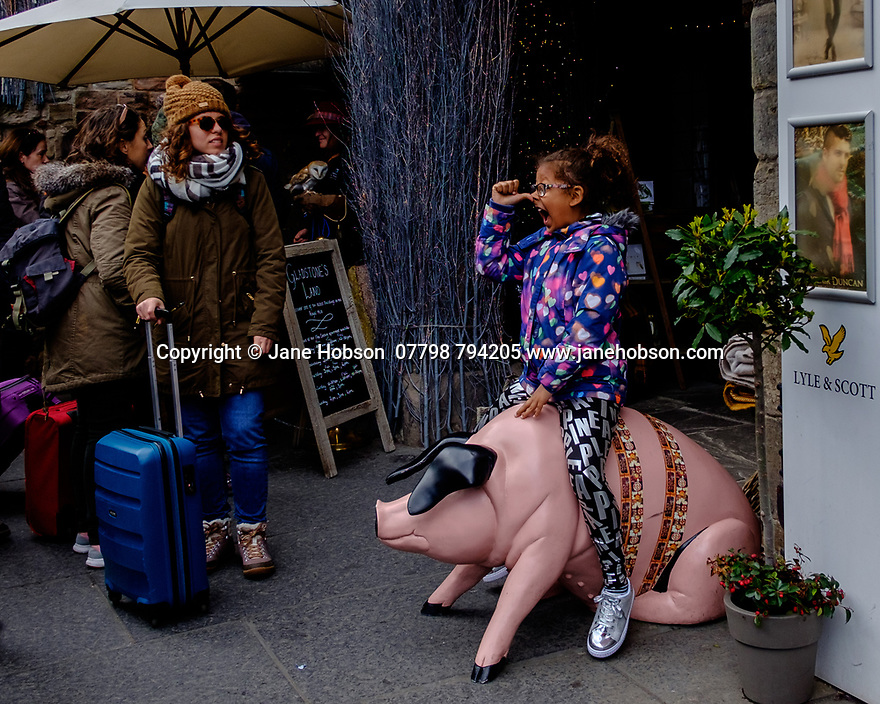 Edinburgh, UK. 15.04.2017. A young girl pulls faces for a photograph, whilst astride a model pig, on the Royal Mile. Photograph © Jane Hobson.