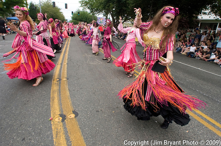 Belly dancers play their finger cymbals during the 21st Annual Fremont Summer Solstice Parade in Seattle on June 20, 2009.  The parade was held Saturday, bringing out painted and naked bicyclists, bands, belly dancers and floats. (Jim Bryant Photo © 2009)