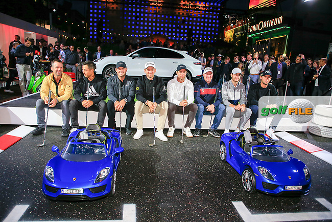Paul Casey (ENG) Xander Schauffele (USA) Patrick Reed (USA) Bernd Wiesberger (AUT) Lucas Bjerregaard (DEN) Richard McEvoy (ENG) Max Smidt (GER) and Thomas Pieters (BEL) at the Porsche Urban Golf Challenge in the Reeperbahn the famous Red light district in Hamburg ahead of the Porsche European Open at Green Eagles Golf Club, Luhdorf, Winsen, Germany. 03/09/2019.<br /> Picture Fran Caffrey / Golffile.ie<br /> <br /> All photo usage must carry mandatory copyright credit (© Golffile   Fran Caffrey)