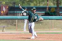 Oakland Athletics third baseman Max Schuemann (45) throws to first base during an Instructional League game against the Los Angeles Dodgers at Camelback Ranch on September 27, 2018 in Glendale, Arizona. (Zachary Lucy/Four Seam Images)