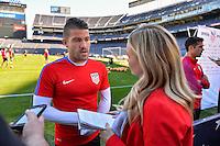 San Diego, CA - Saturday January 28, 2017: Greg Garza addresses the media during a USMNT press conference at Qualcomm Stadium.