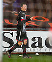 Pars' Lawrence Shankland celebrates after he scores their third goal.