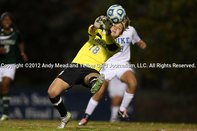 10 November 2012: Loyola Maryland's Didi Haracic (18) makes a save. The Duke University Blue Devils played the Loyola University Maryland Greyhounds at Koskinen Stadium in Durham, North Carolina in a 2012 NCAA Division I Women's Soccer Tournament First Round game. Duke won the game 6-0.