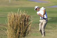 Julien Quesne (FRA) plays his 2nd shot on the 9th hole during Thursday's Round 1 of the 2016 Portugal Masters held at the Oceanico Victoria Golf Course, Vilamoura, Algarve, Portugal. 19th October 2016.<br /> Picture: Eoin Clarke   Golffile<br /> <br /> <br /> All photos usage must carry mandatory copyright credit (© Golffile   Eoin Clarke)