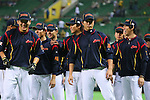 (L to R) .Masahiro Tanaka (JPN), .Hayato Sakamoto (JPN), .Tetsuya Utsumi (JPN), .Kenta Maeda (JPN), .MARCH 6, 2013 - WBC : .2013 World Baseball Classic .1st Round Pool A .between Japan 3-6 Cuba .at Yafuoku Dome, Fukuoka, Japan. .(Photo by YUTAKA/AFLO SPORT)