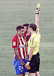 Spanish referee Mario Melero Lopez show yellow card to Atletico de Madrid's Jose Maria Gimenez during La Liga match. April 15,2017. (ALTERPHOTOS/Acero)