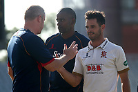 Essex head coach Anthony McGrath congratulates skipper Ryan ten Doeschate on victory during Lancashire CCC vs Essex CCC, Specsavers County Championship Division 1 Cricket at Emirates Old Trafford on 11th June 2018