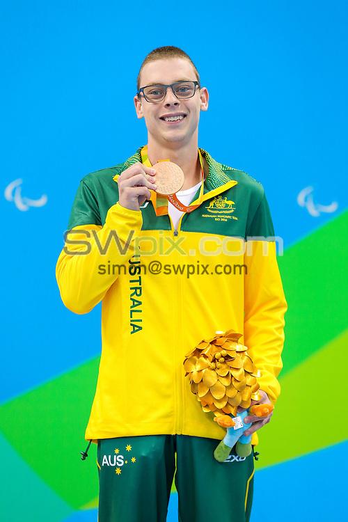 Picture by Rogan Thomson/SWpix.com - 11/09/2016 - 2016 Rio Paralympic Games - Swimming - Olympic Aquatics Centre, Rio de Janeiro, Brazil - Timothy Disken of Australia wins Bronze in the Men's 200m IM SM9 Final.