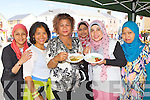Balkish Zin Killarney, Linda Flanagan Tralee, Liana Adkeith Firies, Noralizah Anvar Basha Killarney, Nik Zamzuriana Mohd Nor Tralee and Maslina Killarney  enjoying some spicy from A Taste of Asia at the Flavours of Killorglin fair on Saturday