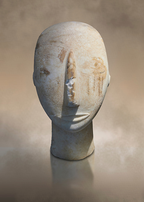 Head of a Cycladic statue with remnants of painted eyes and right cheek, Parian Marble, Amorgos, Early Cycladic II period (2800-3200BC). National Archaeological Museum, Athens.