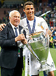Real Madrid's Cristiano Ronaldo celebrates with Agustin Herrerin, Real Madrid's Court Delegate, the victory in the UEFA Champions League 2015/2016 Final match.May 28,2016. (ALTERPHOTOS/Acero)