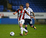 George Baldock of Sheffield Utd intercepts Adam Armstrong of Bolton Wanderers during the Championship match at the Macron Stadium, Bolton. Picture date 12th September 2017. Picture credit should read: Simon Bellis/Sportimage