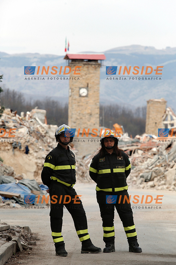 La zona rossa di Amatrice The red zone of Amatrice<br /> Amatrice 02/04/2017. Il Principe Carlo del Galles in visita nella zona terremotata di Amatrice<br /> Amatrice April 2nd 2017. Prince Charles of Wales visits Amatrice, hit by the earthquake of 24 August. <br /> Foto Samantha Zucchi Insidefoto
