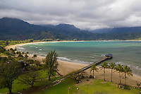 An aerial view of Hanalei Bay, Beach and Pier in northern Kaua'i.
