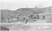 RGS #20 with a 3-car southbound freight passing the Placerville depot.<br /> RGS  Placerville, CO  Taken by Perry, Otto C. - 9/27/1942