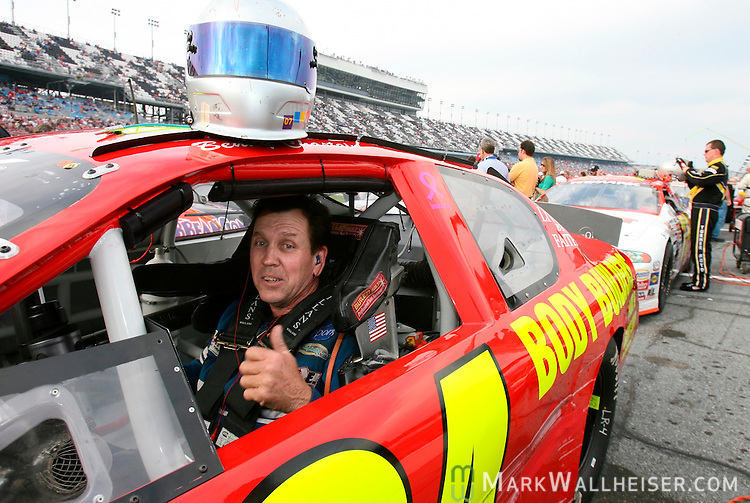 Tallahassee driver Benny Chastain gives the thumbs up as he prepares to run in the ARCA RE/MAX 200 at Dayton International Speedway in Daytona Beach, Florida  February 10, 2007. Chastain was taken out in a wreck during the race.    (Mark Wallheiser/TallahasseeStock.com)