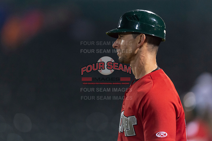 Fort Wayne TinCaps manager Anthony Contreras (10) during a Midwest League game against the Fort Wayne TinCaps at Parkview Field on April 30, 2019 in Fort Wayne, Indiana. Kane County defeated Fort Wayne 7-4. (Zachary Lucy/Four Seam Images)