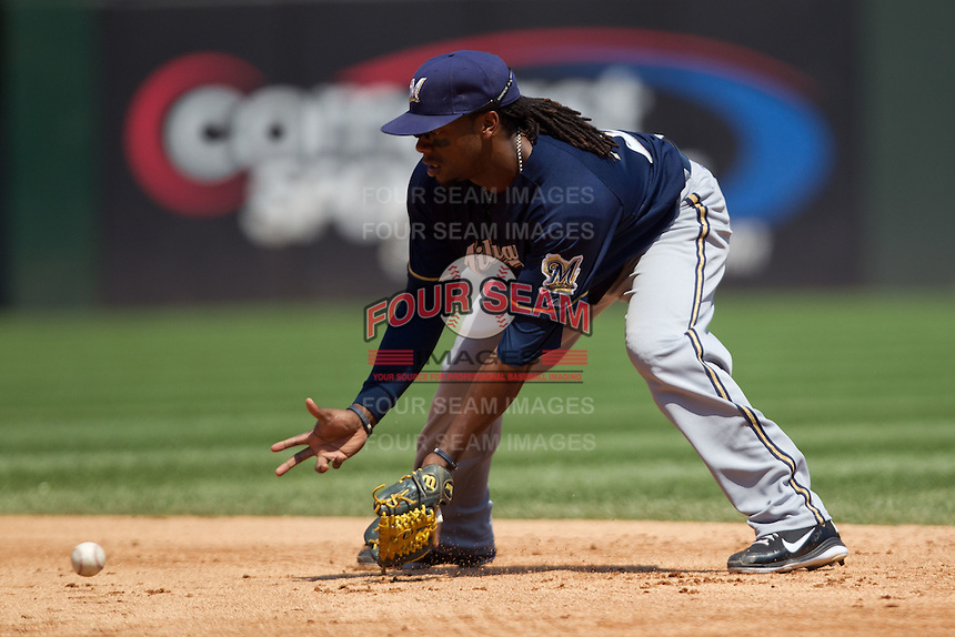 Milwaukee Brewers second baseman Rickie Weeks #23 fields a grounder during the Major League Baseball game against the Chicago White Sox on June 24, 2012 at US Cellular Field in Chicago, Illinois. The White Sox defeated the Brewers 1-0 in 10 innings. (Andrew Woolley/Four Seam Images).