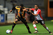 3rd October 2017, The Abbey Stadium, Cambridge, England; Football League Trophy Group stage, Cambridge United versus Southampton U21; David Amoo of Cambridge United battles with Tyreke Johnson of Southampton
