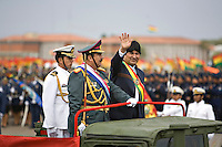 Santa Cruz, Bolivia<br /> A picture dated August 7, 2007 shows Bolivian President Evo Morales riding on a military car during a parade in the city of Santa Cruz.