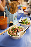 VIETNAM, Hanoi, restaurant Pho Gia Truyen, also known as 49 Bat Dan, a food shot of pho bo or beef noodle bowl waiting to be eaten