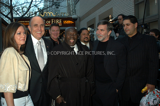 WWW.ACEPIXS.COM . . . . . ....NEW YORK, APRIL 13, 2005....Dan Klores, Emile Griffith, Rudy Giuliani and Judith Nathan at the 'Ring of Fire the Emile Griffith Story' premiere held at the Beekman Theater.....Please byline: KRISTIN CALLAHAN - ACE PICTURES.. . . . . . ..Ace Pictures, Inc:  ..Craig Ashby (212) 243-8787..e-mail: picturedesk@acepixs.com..web: http://www.acepixs.com