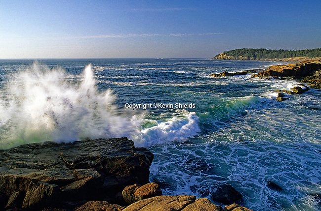 Wave crashing on the rocky shore at Acadia National Park, Maine, USA