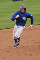 Iowa Cubs outfielder John Andreoli (6) heads for third base during a Pacific Coast League game against the Colorado Springs Sky Sox on May 11th, 2015 at Principal Park in Des Moines, Iowa.  Colorado Springs defeated Iowa 13-7.  (Brad Krause/Four Seam Images)