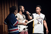 "Alex Levers '19 presented a soulful cover of John Lennon's ""Jealous Guy"". Ashley Rivera '19 and Austin Wilson '19, the charismatic and welcoming hosts of Apollo Night.<br /> Occidental College students perform and compete during Apollo Night, one of Oxy's biggest talent showcases, on Feb. 24, 2017 in Thorne Hall. Sponsored by ASOC and hosted by the Black Student Alliance as part of Black History Month.<br /> (Photo by Marc Campos, Occidental College Photographer)"