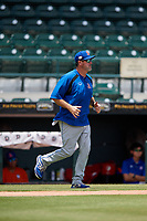 St. Lucie Mets pitching coach Mike Cather (25) during a Florida State League game against the Bradenton Marauders on July 28, 2019 at LECOM Park in Bradenton, Florida.  Bradenton defeated St. Lucie 7-3.  (Mike Janes/Four Seam Images)