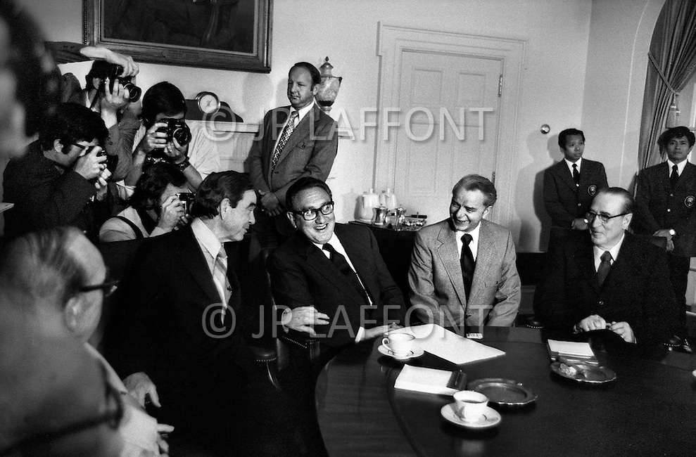 Washington DC, June 1974. Henry Kissinger returns from a trip from India in an attempt to keep India's Nuclear weapons test low key. Nixon Cabinet meeting was held to discuss. May 1974. A break in at the Democratic National Committee headquarters at the Watergate complex on June 17, 1972 results in one of the biggest political scandals the US government has ever seen.  Effects of the scandal ultimately led to the resignation of  President Richard Nixon, on August 9, 1974, the first and only resignation of any U.S. President.