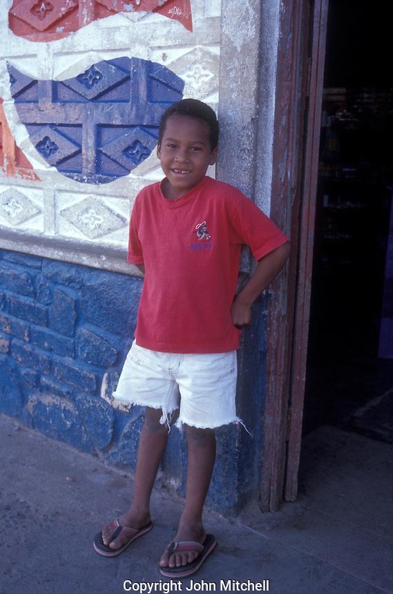 Black Panamanian boy in the village of Nata, Panama