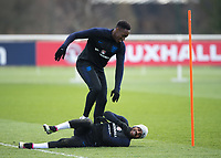 Danny Welbeck of England and Danny Rose of England during the England National Team Training ahead of the international friendly match with Italy at Tottenham Hotspur Training Ground, Hotspur Way, England on 26 March 2018. Photo by Vince  Mignott.
