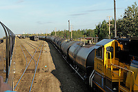Tank cars full of aviation fuel headed to Anchorage are a common site at the Fairbanks switching yard. The Alaska Railroad's Denali Star train runs between Anchorage and Fairbanks, with Denali one of the stops along the way.