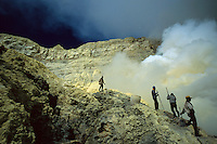 Sulphur miners, Kawah Ijen volcano, Java, Indonesia, 2002