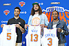Recent New York Knicks acquisitions, from left, Courtney Lee, Joakim Noah, and Brandon Jennings pose for photographers at their introductory news conference at Madsion Square Garden Training Center in Greenburgh, NY on Friday, July 8, 2016.