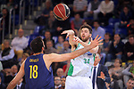League ACB-ENDESA 2017/2018 - Game: 27.<br /> FC Barcelona Lassa vs Real Betis Energia Plus: 121-56.<br /> Pierre Oriola vs Ryan Kelly.